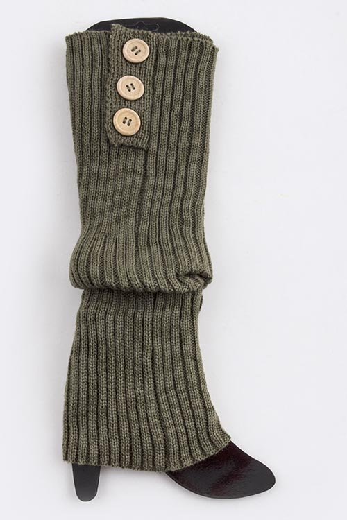 Knitting Pattern For Leg Warmers With Buttons : BUTTON LINED LONG KNIT LEG WARMERS CrowdAroundStore